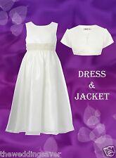 BNWT Age 2 Grace Dress & Bolero Jacket IVORY PEARL Satin Bridesmaid Flower girl