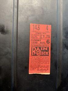 Vintage 1939 Cincinnati Reds Ticket Stub Willard Hershberger (2) Triples