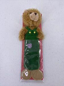 "Applause Corduroy Bear Plush Bookmark 8.5"" Green Overalls"