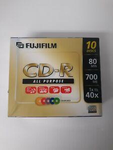 Fujifilm 10 Pack CD-R Color Slim Jewel Cases All Purpose 700MB 80 Min Data Music