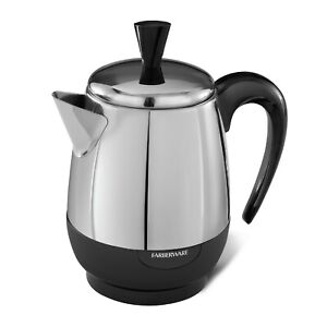*NEW* FARBERWARE FCP240A 2-4 CUP STAINLESS STEEL ELECTRIC PERCOLATOR **NIB**