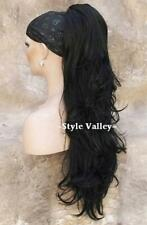 XL BLACK Ponytail Hairpiece Long Wavy Extension Claw Clip in on Hair Piece