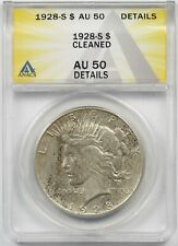 1928-S $1 ANACS AU 50 Details (Cleaned) Peace Silver Dollar