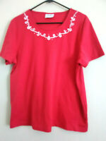Women's Links Short Sleeve  Knit Top Blouse Large Embroidered Anchor