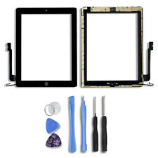 Touch Screen Glass Lens Digitizer Replacement+IC Chip+Home For iPad 4  Black