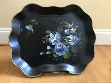 Vintage Nashco Tole Hand Painted Serving Tray Black Floral