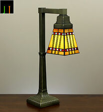 Tiffany Bungalow Stained Glass Bedside Side Table Desk Lamp Light Leadlight Deco