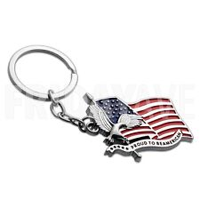 USA US American Flag & Eagle United States America Patriotic Keychain Key Ring