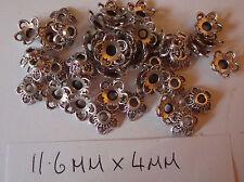30 Tono Argento Perline caps11.6 mm x 4 mm (questa è una linea di gioco)