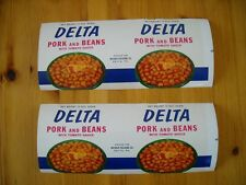 "Vintage "" Delta"" Pork and Beans Can Labels-10 pcs."