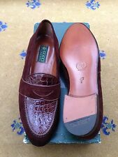 New Vintage Gucci Mens Shoes Brown Suede Leather Loafers UK 7 8 US 8 9 EU 41 42
