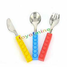 Children Lego Building Bricks Stainless Steel Fork Spoon Cutlery Utensil Set