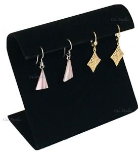 Base Chrome Stem Jewelry Showcase Display Earring Display Stand Black Velvet 5PC
