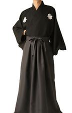 Japanese Men's Kimono Ryoma Sakamoto Samurai Bushi costume Jacket Pants Hakama