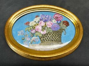 Antique Hand Painted Oval Ceramic Tile Signed E. D. 1886