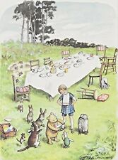 Winnie The POOH Piglet Birthday Christopher Robin Owl Vintage Matted 1957 Print