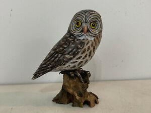 Vintage Folk Art Style Wood Carved & Painted Great Grey Owl Bird Figurine Statue