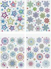 Star Snowflake Glitter Window Sticker Christmas Festive Decor Cling Frozen Xmas