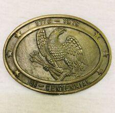 Vintage 1776 - 1976 Bi Centennial Belt Buckle American Eagle Pewter Oval Usa