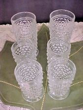 Lot 6 Vintage Beverage Glasses Clear Hobnail Footed 4 Juice 2 Ice Tea Unmarked
