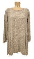 "Lovely Souls Tunic Shirt Dress Size 1x Large 23"" Long Sleeve Gray Beige Soft"