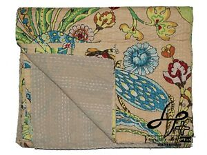 Twin Size Kantha Quilt Bohemian Bedcover Indian Bedspread Cotton Hippie Bedsheet
