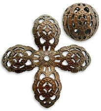 Vintaj natural brass 20mm Round Ornate Filigree bead
