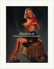Girl with Wool Pullover Harry Ekman Rock Strapse Nadeln Kunstdruck Pin Up 012