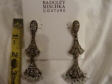 "NWT Badgley Mischka Swarovski Crystal 3"" Deco Drop Chandelier Dangle Earrings"