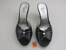Emilio Pucci Mules Heels Wedge Slides Women's Sz 8.5 Black Leather Chrome Italy