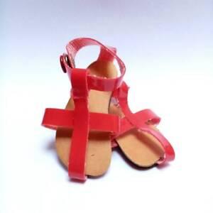 """Vintage Red Doll Sandels, doll shoes, vinyl sandal shoes, 2.16"""" - size 5.5, slim"""