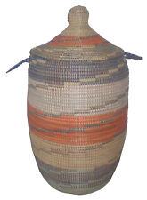 Grand panier Africain à linge Senegal à couvercle multicolor artisanat Afrique