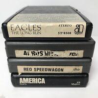Lot Of 4 Classic Rock 8 Track Tapes~ Aerosmith, Reo Speedwagon, Eagles, America