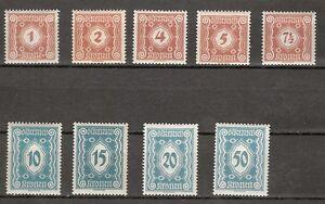 1922 Porto Neue Ziffernzeichnung mit Ergänzung Postfrisch ** MNH 103 - 117