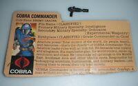 Lot 1982 GI Joe Cobra Commander Straight Arm v1 Figure File Card Gun Set *READ*
