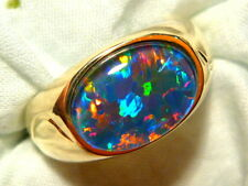 Mens Opal Ring 14ct Yellow Gold, Natural Opal Triplet. 14x10mm Oval . item 90117