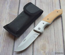 ELK RIDGE WOOD HANDLE FOLDING POCKET KNIFE LOCK-BACK WITH NYLON POUCH