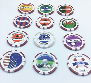 Personalised Poker Chip golf ball markers. Society Societies, Stag, Swindle