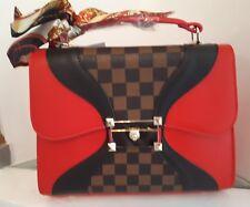 Ladies Handbag. Designer,  Red Check. Hand Held/Shoulder Strap. Fast Delivery.