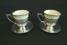 ANTIQUE STERLING SILVER LINERS MATTHEWS CO LENOX INSERTS (2) DEMITASSE CUPS 1920