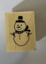 Wood Backed Rubber Stamp Hero Arts Merry Christmas Snowman