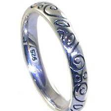 BALI_ ELEGANT ENGRAVED SCROLL STACK RING SZ 6___925 Sterling Silver