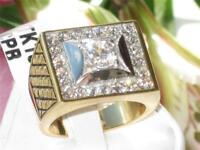 Mens gold ring 3ct 18kt cz signet square no tarnish all size solitaire new 1061
