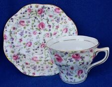 VINTAGE ROSINA ENGLAND PINK ROSES CHINTZ TEACUP & SAUCER RED OR PINK ROSES