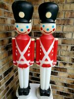 Two (2) Soldiers Plastic Blow Molds Empire Lighted Christmas Decorations 1980s