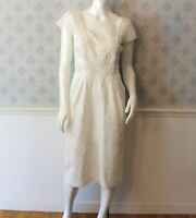 Vintage White Embroidered and Crocheted Doily Wiggle Dress
