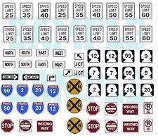 Custom Decal - N Scale Highway Traffic Signs, Set #1