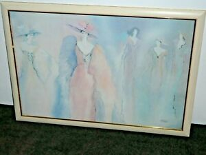 Fashion Ladies in Pastel Shades Pink Blue Grey Signed Rise Large Framed Print