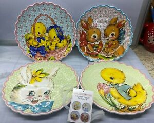 4 Pcs Set Salad Lunch Plates Spring Easter Cottontail Mr. Christmas  New Vintage