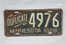 Vintage 1948 Minnesota Duplicate Script License Plate # 4976 Collector Man Cave